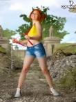 Фантастическая рыжая шлюшка снимает джинсы с аппетитной попки, фото 1