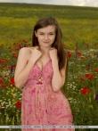 Снимает платье - голышом позирует с аппетитными титьками в цветочном поле, фото 1