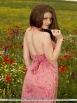 Снимает платье - голышом позирует с аппетитными титьками в цветочном поле, фото 3