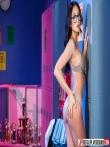 Азиатка в очках задирает юбку обнажая крепкую попу, фото 8