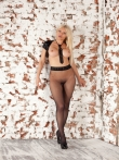Фетиш в черных колготках длинноногой блондинки с круглыми дойками, фото 5