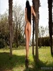 Красивая длинноногая латинка раздевается под пальмами до гола показывая татушку на спине, фото 8