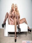 Две грудастые порнозвезды снимают строгую офисную форму секретарш с длинными юбками и позируют голышом большими жопами в сетках, фото 15