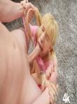 Потянул за косички чтобы поглубже насадить ротик блондинки на член, фото 10