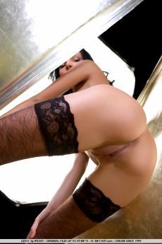 Черные чулки и тугая попка молоденькой девушки