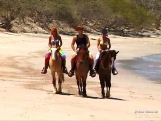 Трое девушек ковбоев путешествуют верхом на лошадях, подыскивая на свою жопу приключения, встретив одинокого мужика на пляже заездили его до семяизвержения